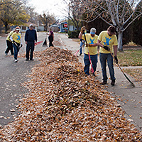 Raking leaves good deed